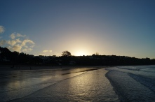 Sunset on a beach on Waiheke island