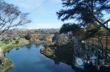 Bungee jumping into the Waikato river in Taupo